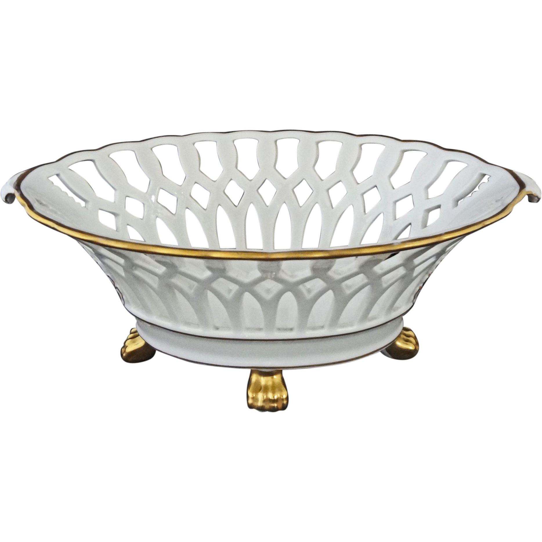 Reticulated white porcelain centerpiece console bowl