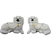 Pair Staffordshire Style White Spaniel Dog Figurines Pottery