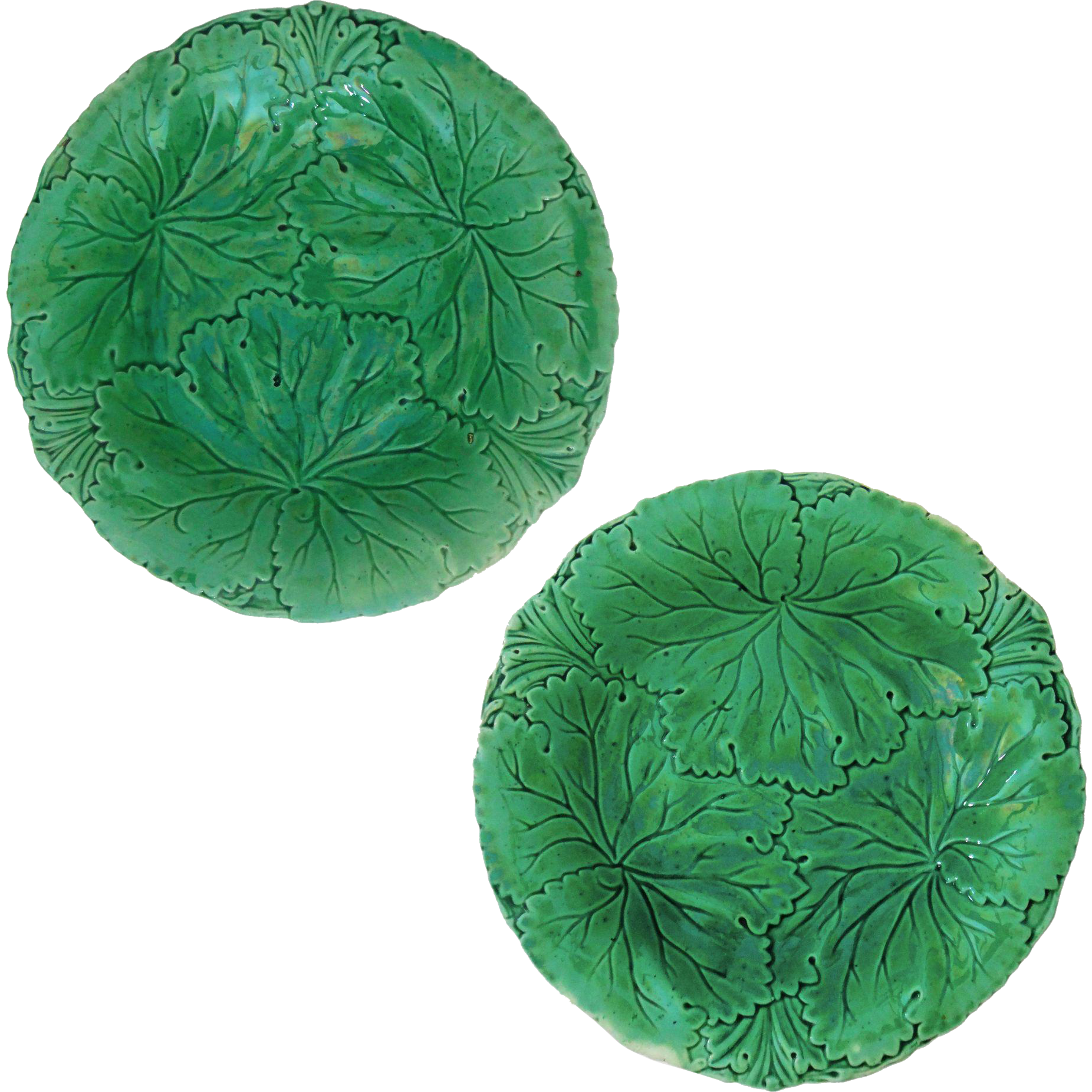 Pair Antique English Majolica Green Leaf Plates Signed Copeland - after 1847, England