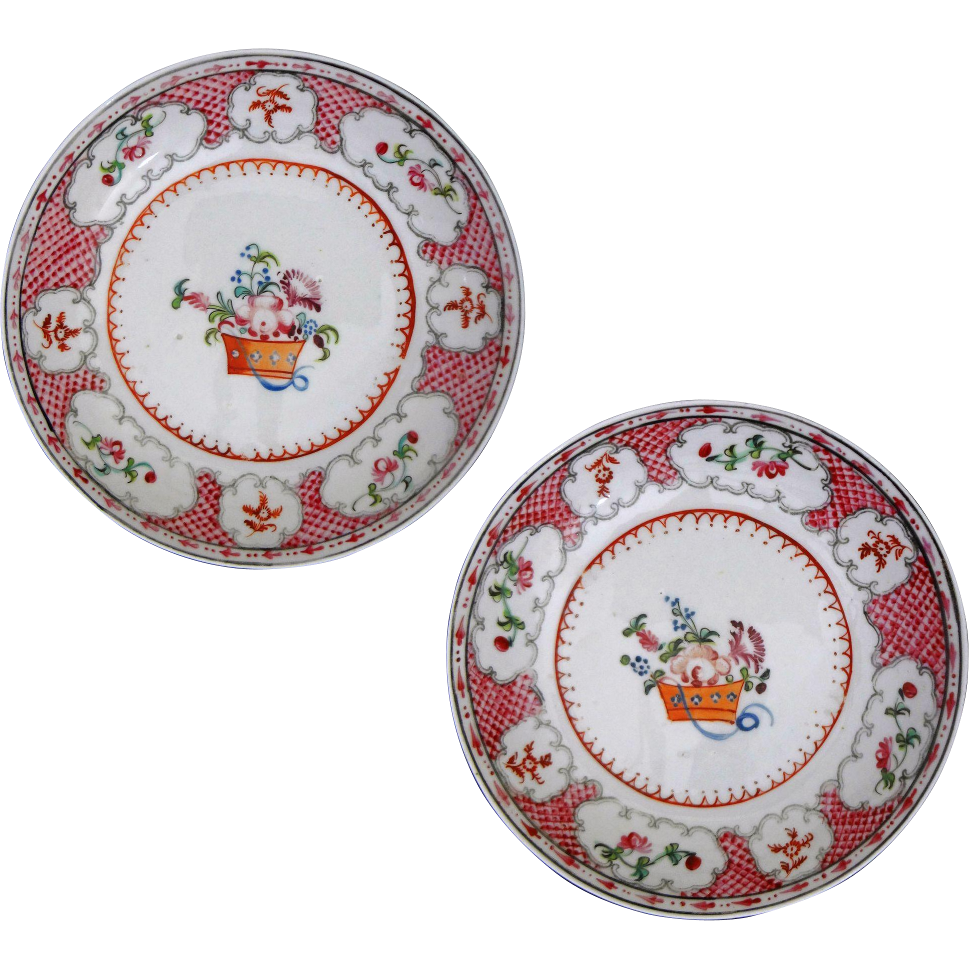 Pair of New Hall Lowestoft / Chinese Export Style Hard Paste Enameled Porcelain Tea Bowls / Plates - ca. 1800, England