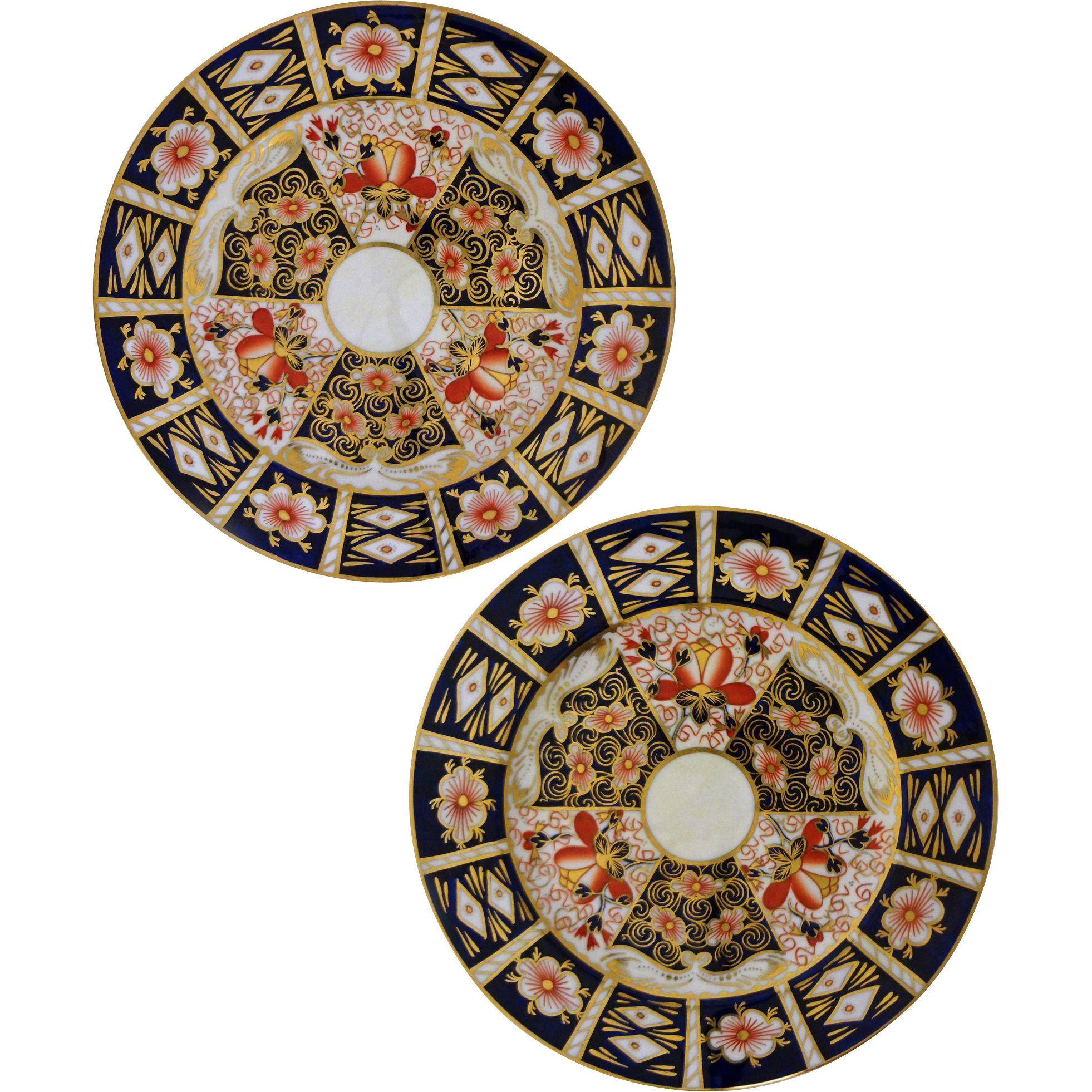 Pair Royal Crown Derby for Tiffany Imari Style Plates - 1921 to 1940, England