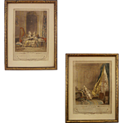 Pair French Engravings Les Confidences and Le Boudoir after Sigismond Freudenberger - Red Tag Sale Item