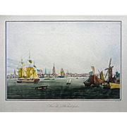 Early View of Philadelphia, Ships, and American Flag Color Lithograph Print Framed - France