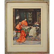 The Cardinals Tea Signed P. Pavesi Genre Scene Framed Painted Lithograph - 1901, Italy