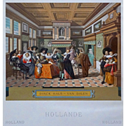 Dutch Costumes Interior Setting 17th Century Color Lithograph - 19th Century, France