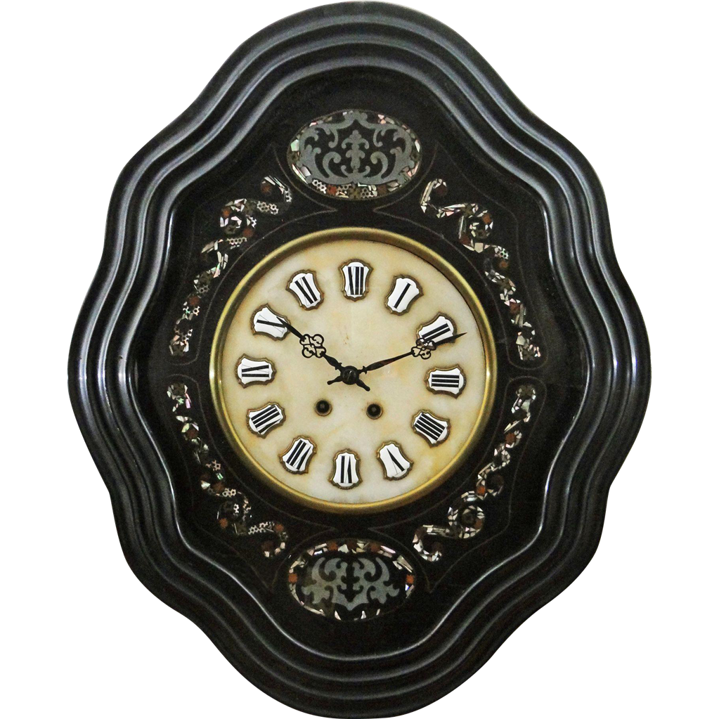 French Antique Ebonised Wood and Marble Wall Clock - 19th Century, France
