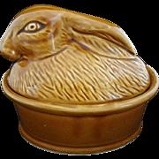 Rabbit Terrine Pottery French Style Glazed Lidded
