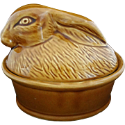 Rabbit Shape Lidded Terrine Pottery French Style Glazed