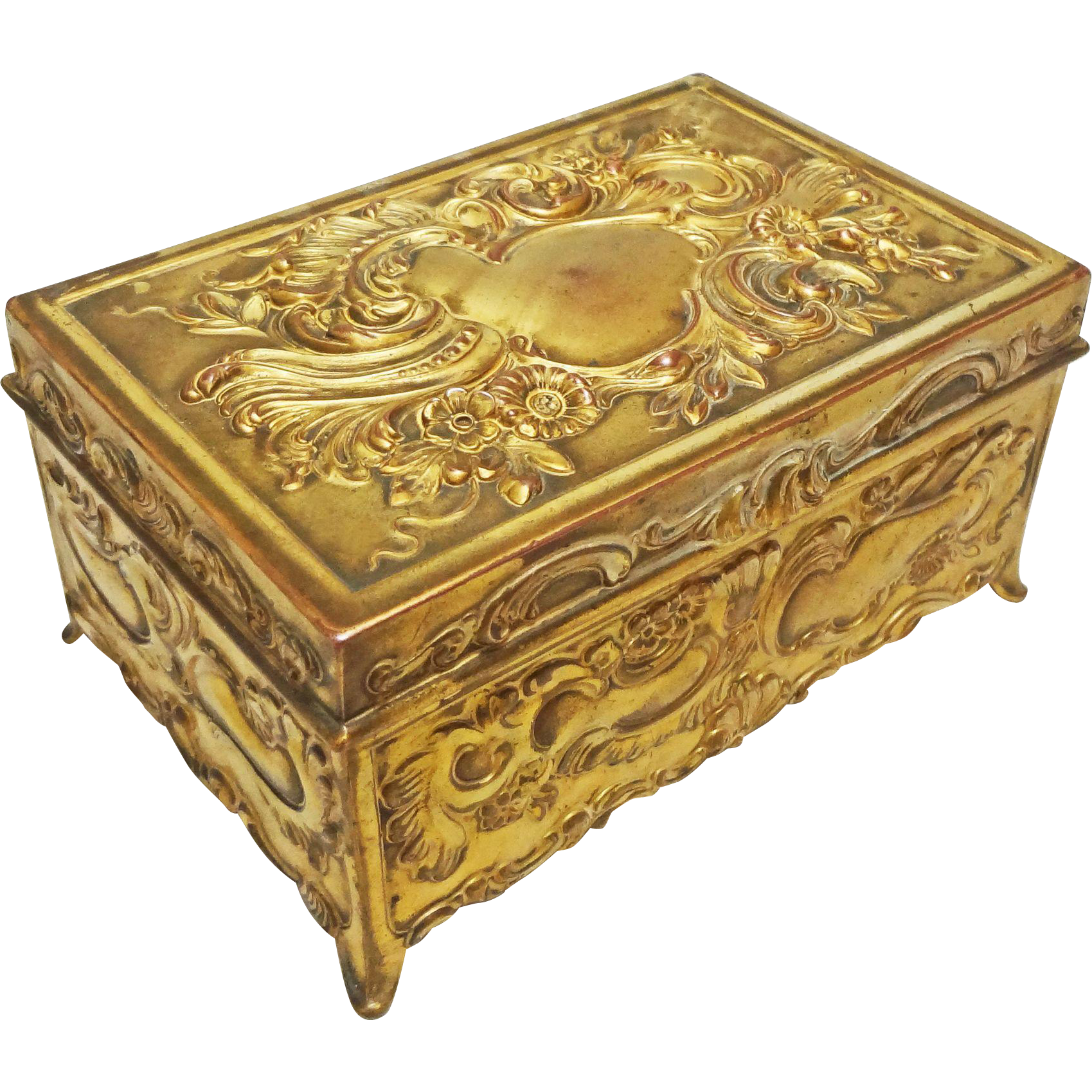 Jennings Brothers Rectangular Gilt Bronze Lidded Box / Casket JB 752 - c. 1900's, USA