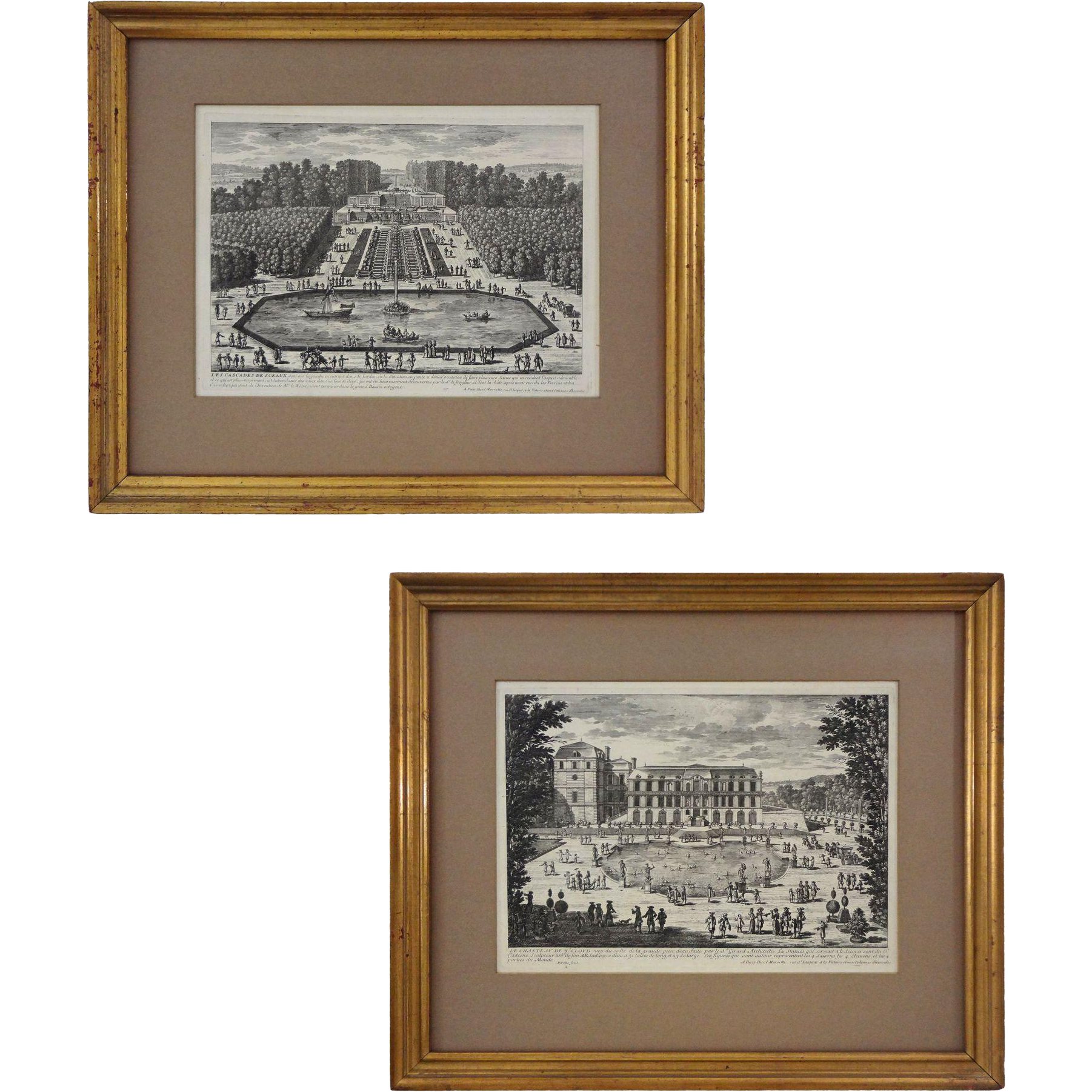 Pair Antique French Architectural / Topographic Engravings Les Cascades de Sceaux and Le château de St Cloud, Mariette after Perelle - c. 1710 and later, France