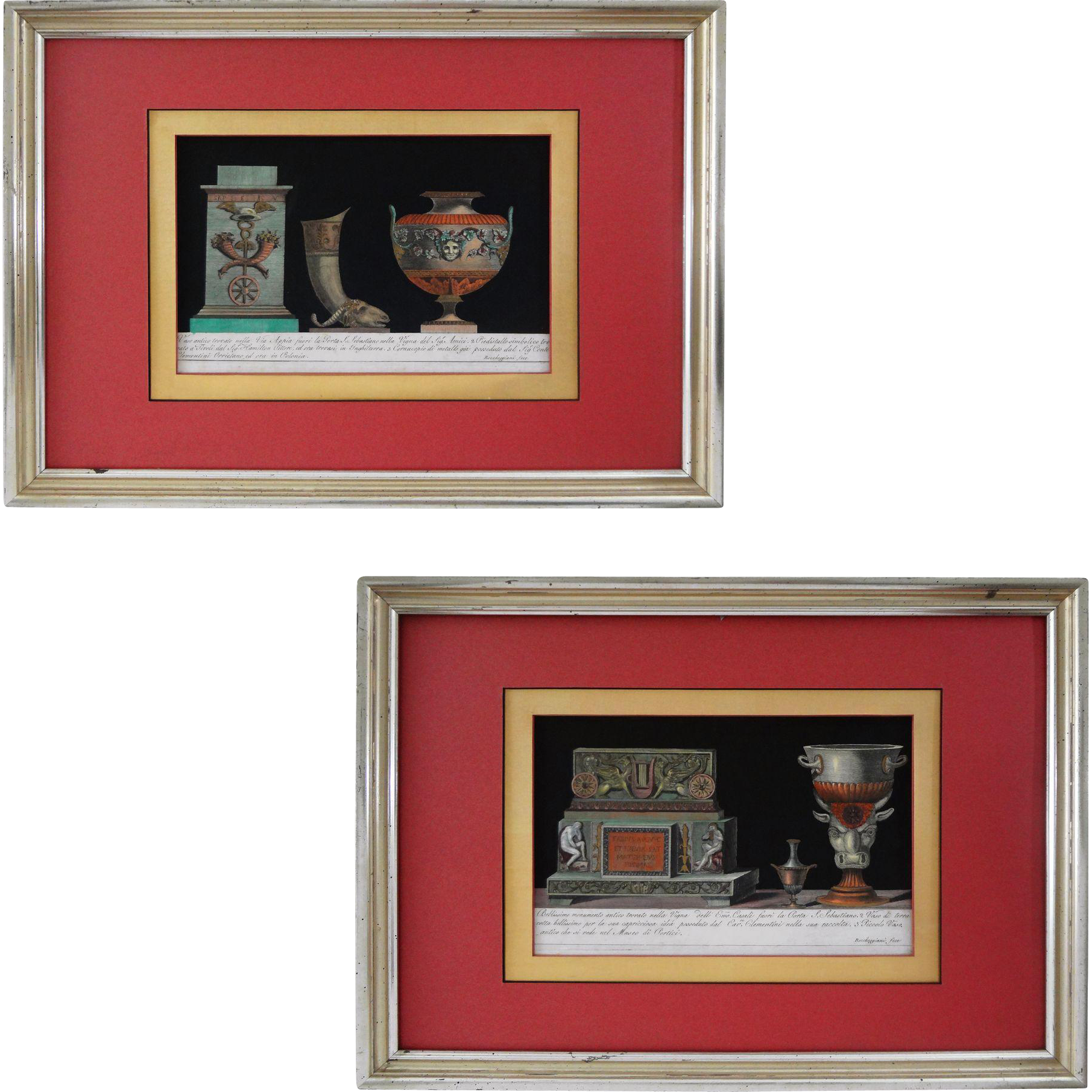 Pair Etruscan Ornaments Color Engravings Framed - 19th Century, Italy