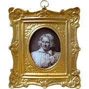 Grisaille Miniature Portrait on Porcelain Gilt Frame Artist White Smock