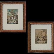 Pair Watercolors Fantastic Creatures Half Human Half Fowl - c. 19th Century, France