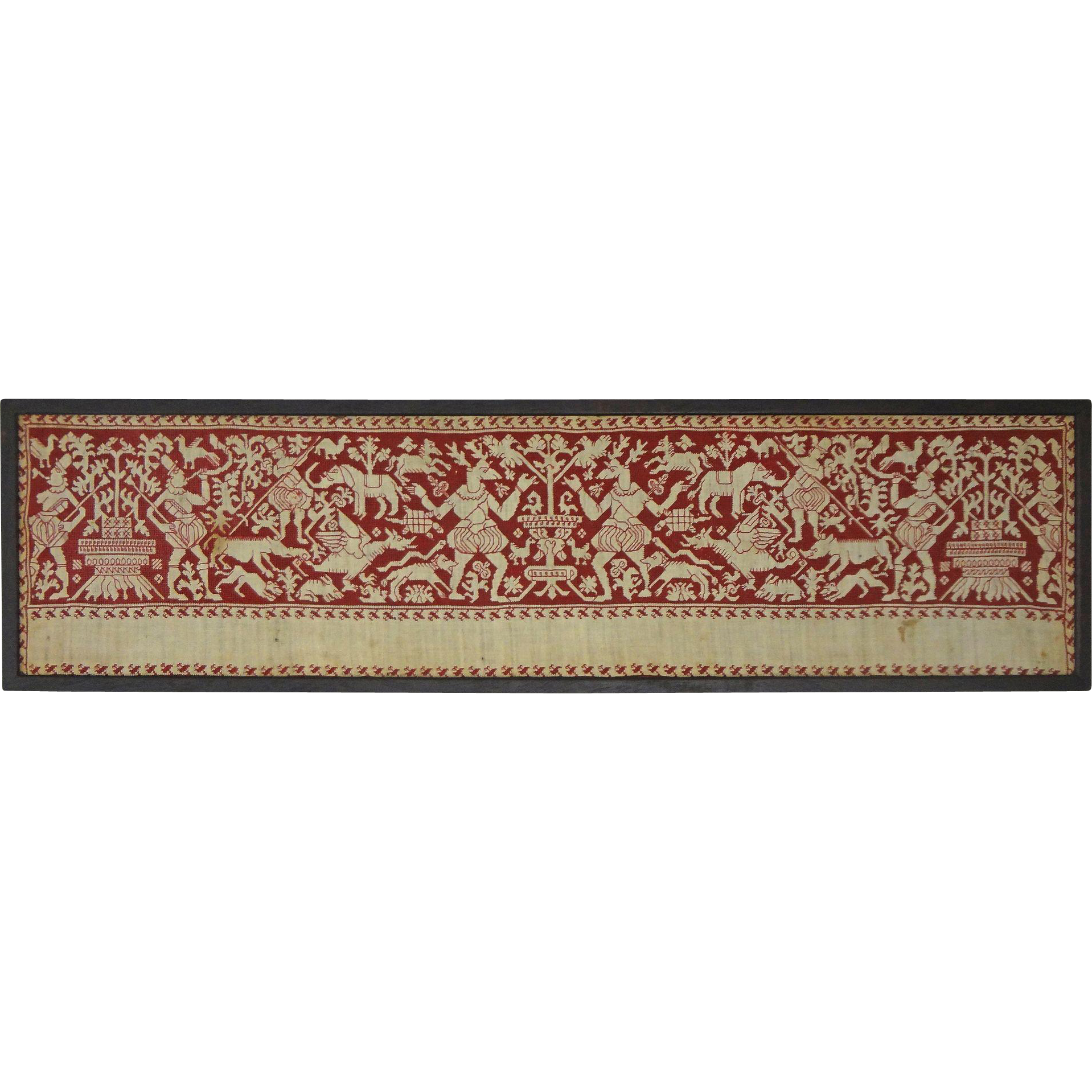 Italian Renaissance Embroidery Panel Valance Border Red Silk Thread on Linen  - circa 17th Century, Italy