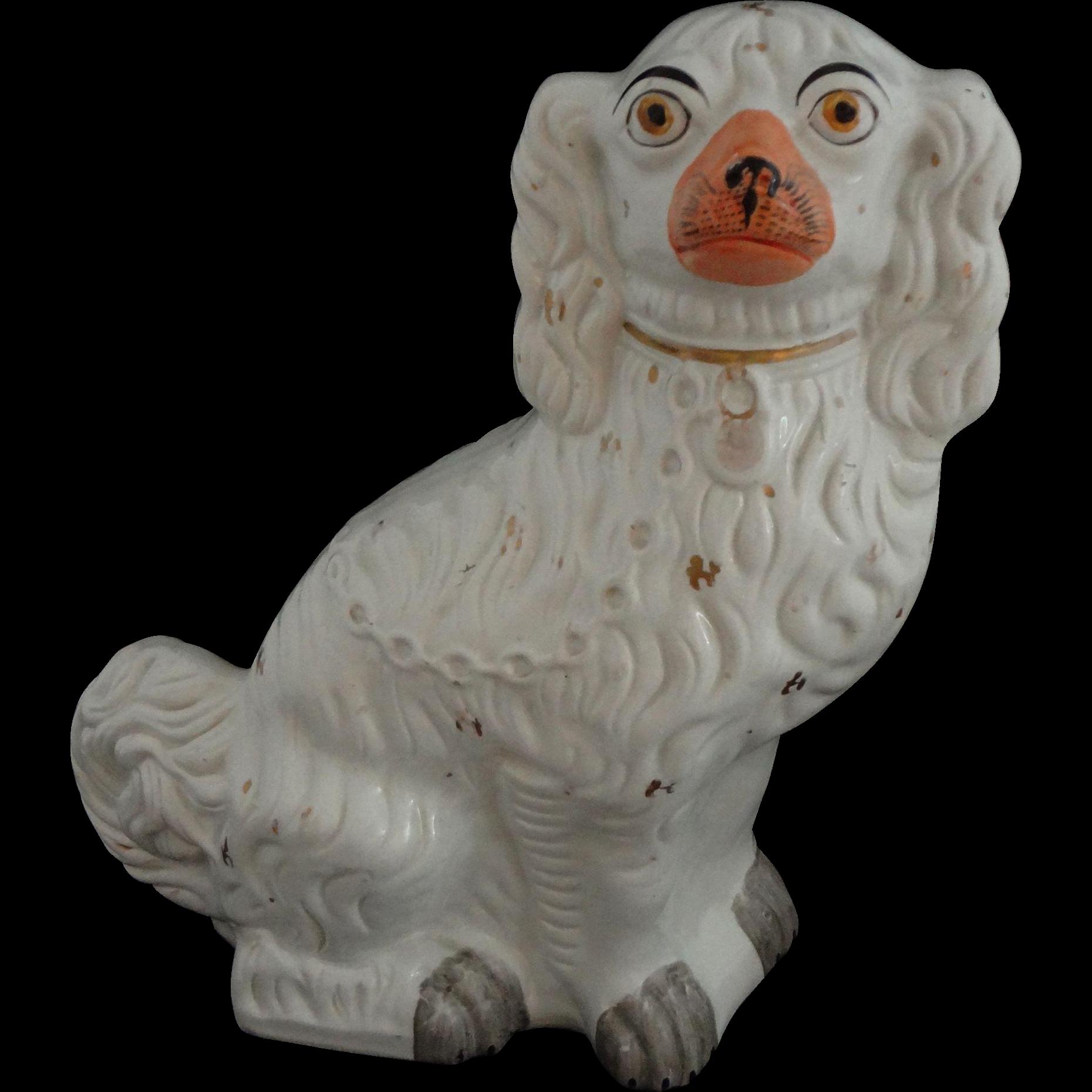 """Staffordshire Large 13"""" Spaniel Dog Gilt White Orange Muzzle - c. 19th Century, England"""