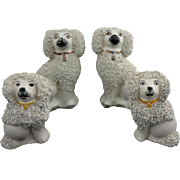 Set 4 Staffordshire Ware Poodle Dog Figurines White (2 pairs)