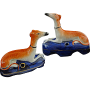 Pair Staffordshire Recumbent Dogs Inkwells Marked - c. 20th Century, England