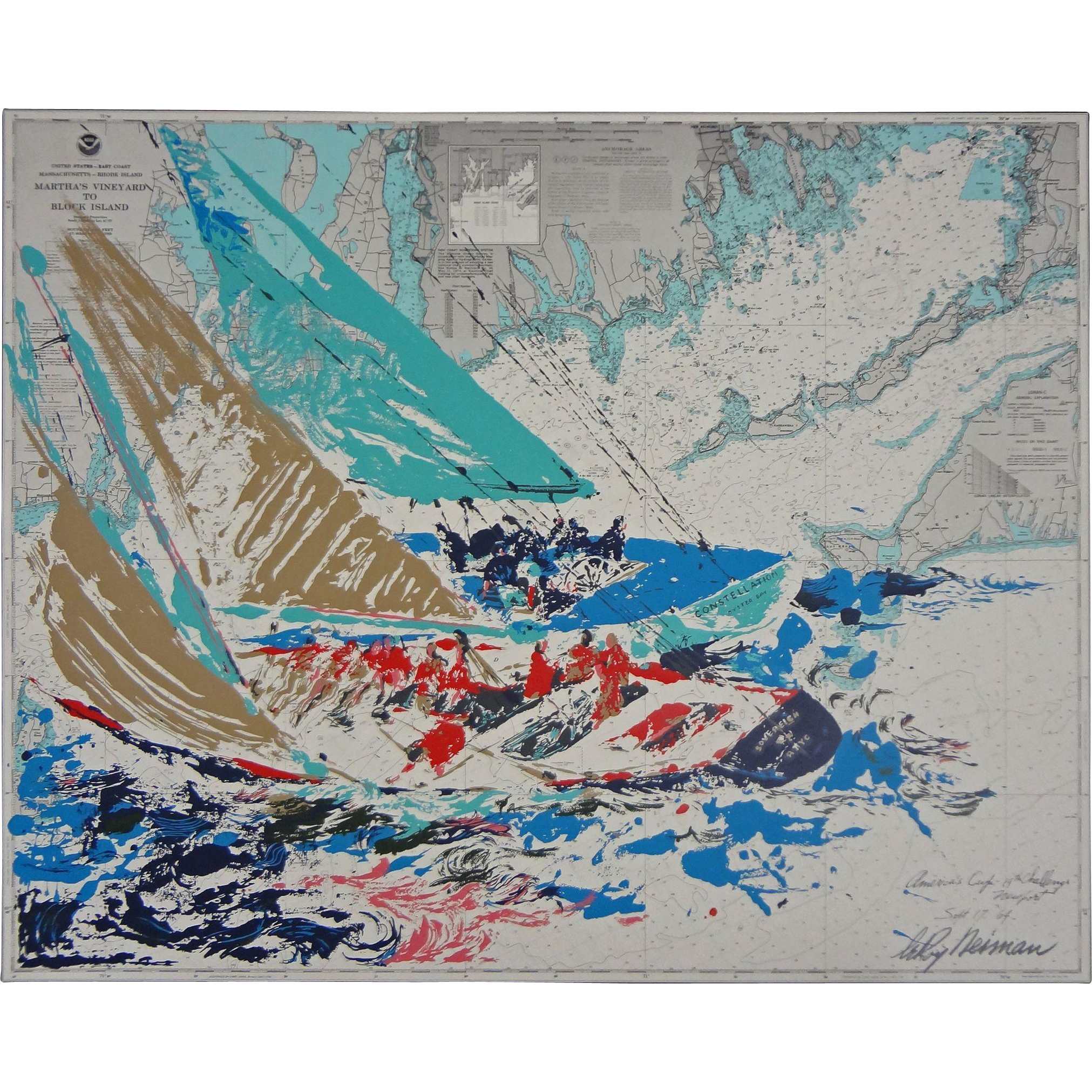 Leroy Neiman Original Serigraph Americas Cup Th Challenge - A a large map of the usa