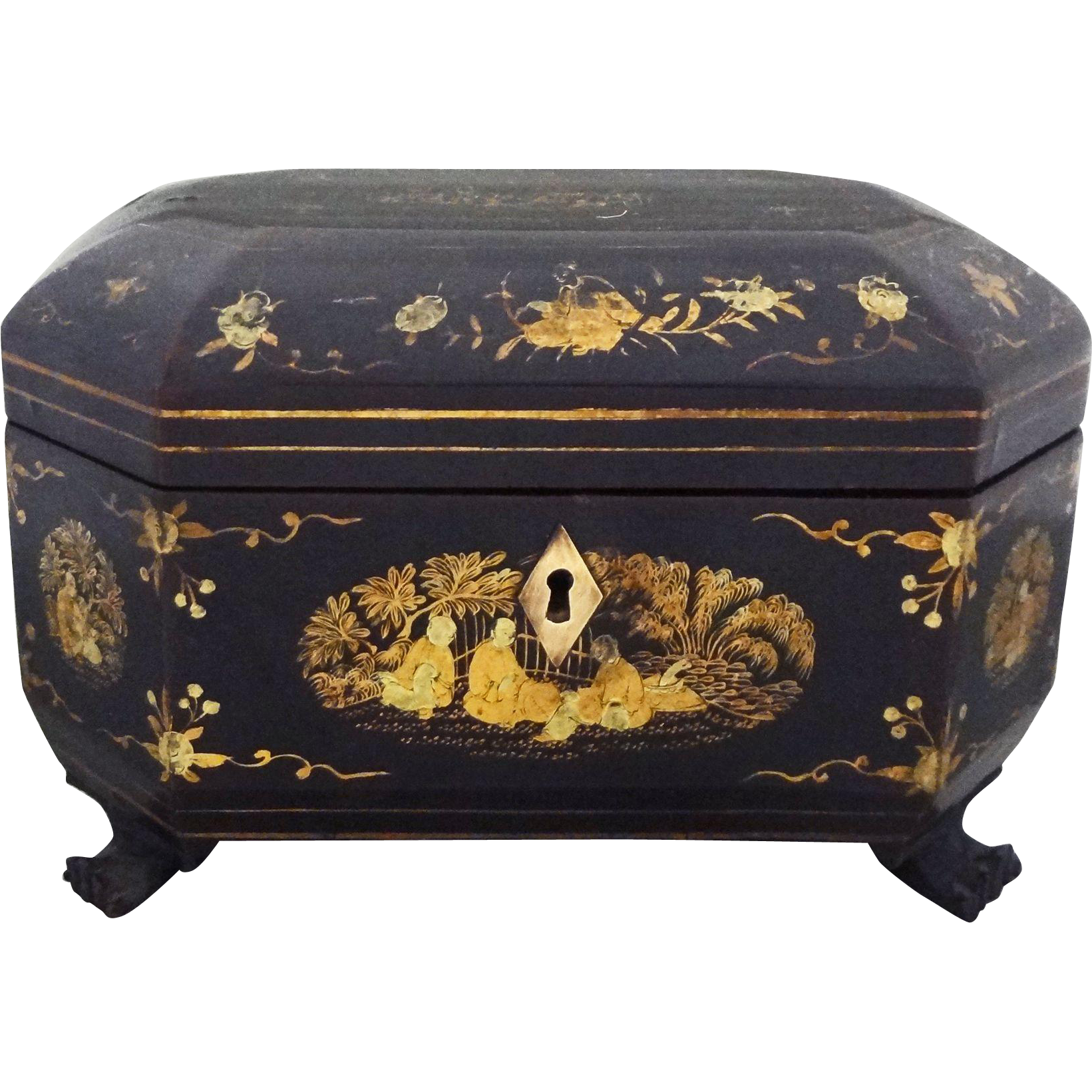 Black Lacquer Tea Caddy Box Gilt Chinese - 19th Century, China