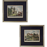 Pair Early English Castles Color Engravings after T. Hearne Framed - c. 1807, England