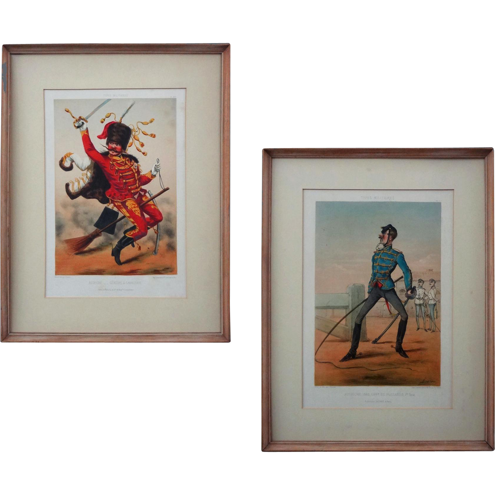 Austrian Types Militaires Regimental Lithographs Lemercier after Draner Color - circa 1861-­5 or later, France