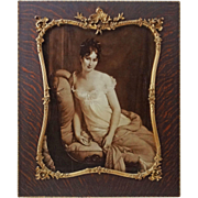 Madame Recamier Large Sepia Portrait in French Rosewood Picture Frame Large - 19th Century, France
