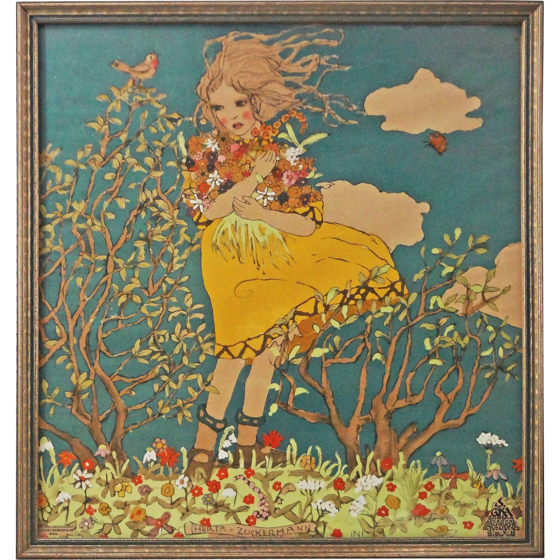 Vienna Secessionist Color Lithograph Franz Cizek Child And