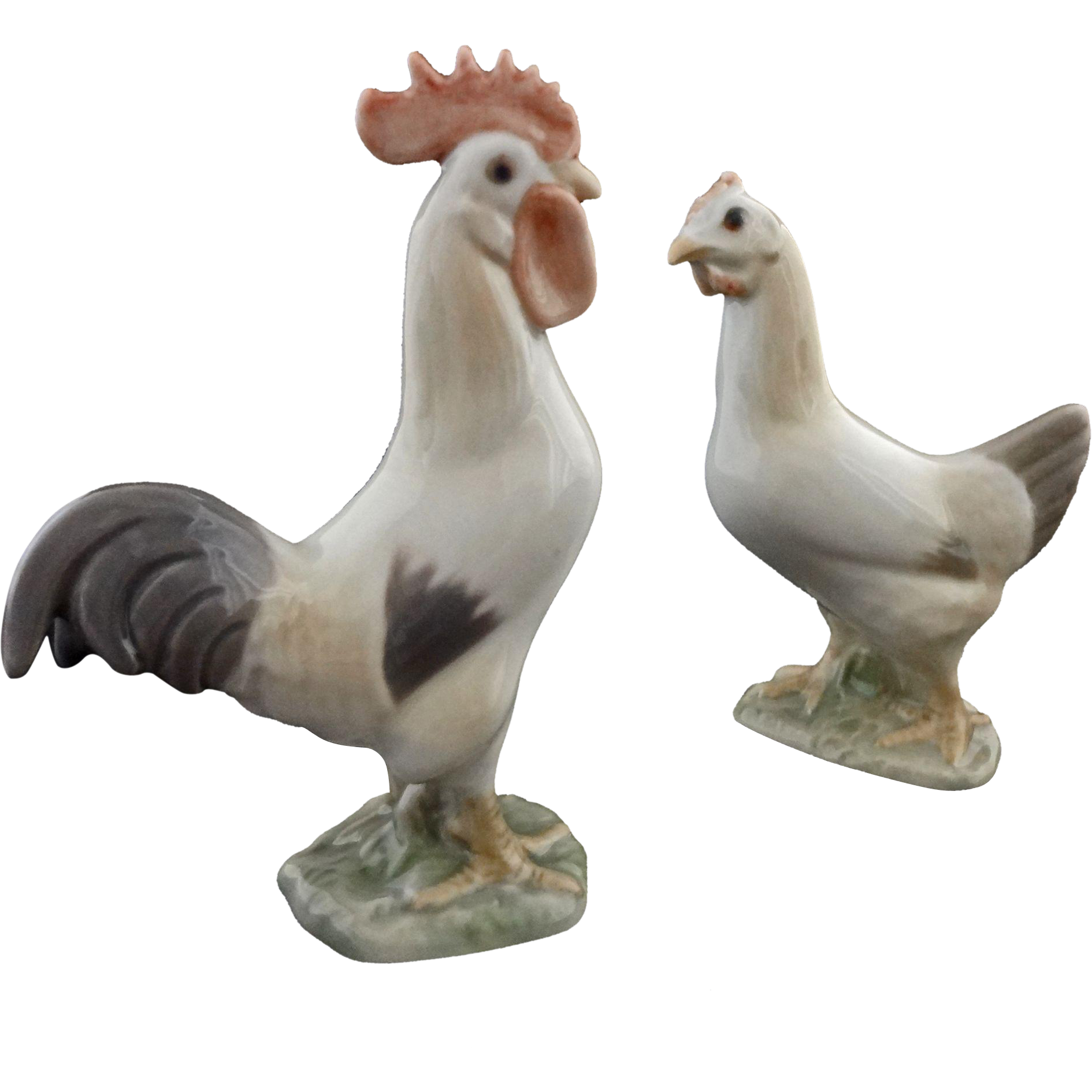 Bing & Grondahl Rooster and Hen Porcelain Figurines - 20th Century, Denmark