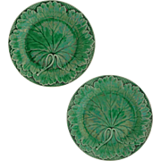 Pair Antique Wedgwood Majolica Green Leaf Basket Weave Plates - 19th Century, England