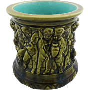 French Majolica Sarreguemines Cache Pot Planter Putti Green Turquoise - c. 19th Century, France