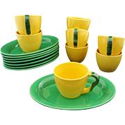 Set 8 Royal Copenhagen Ursula Yellow Green Fajance Cups / Mugs and Oval Plates  - Post 1993, Denmark