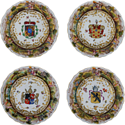 Set 4 Armorial Porcelain Plates Raised Classical Figure Border Crowned N Mark Majolica