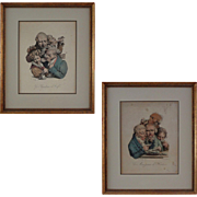 Pair French Color Lithographs Delpech after Boilly - France