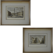 Pair Early Rome Color Engravings Piazza Colonna and Ponte e Chiesa Di S. Trinita - Italy