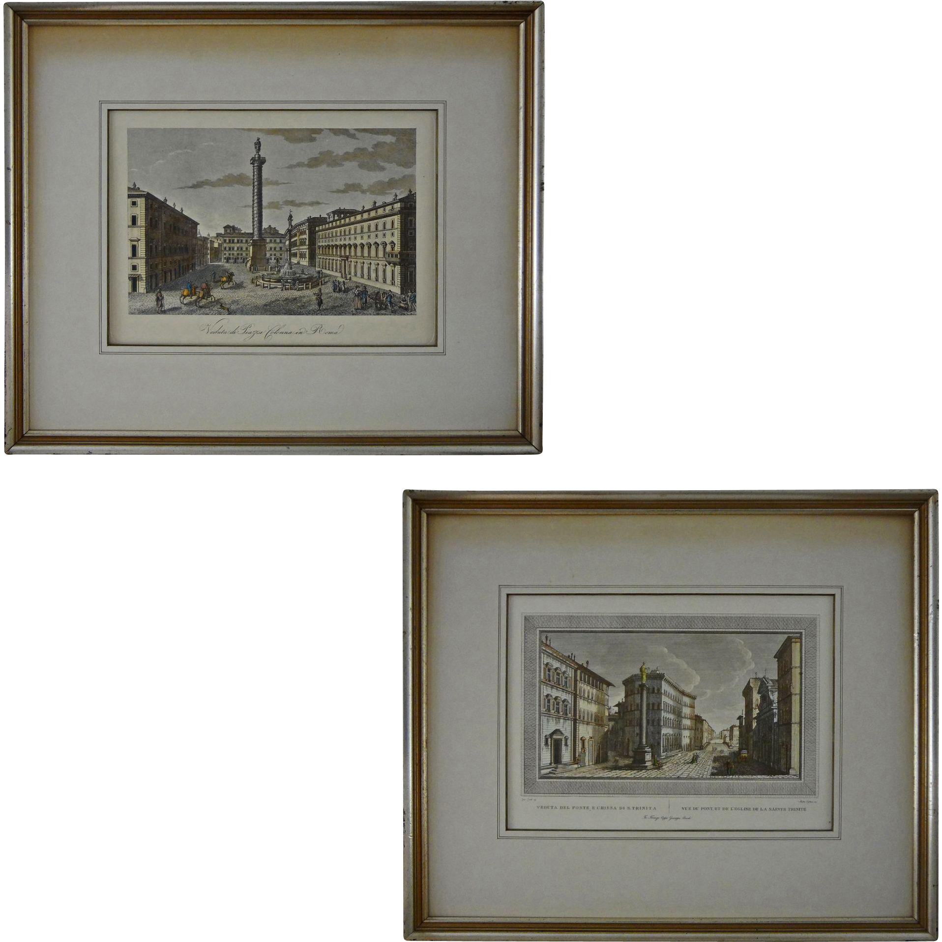 pair early rome color engravings piazza colonna and ponte e chiesa