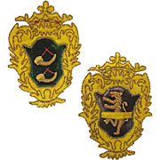 Pair Armorial Coat of Arms Embroidered Patches Hunting Horns and Lion Rampant