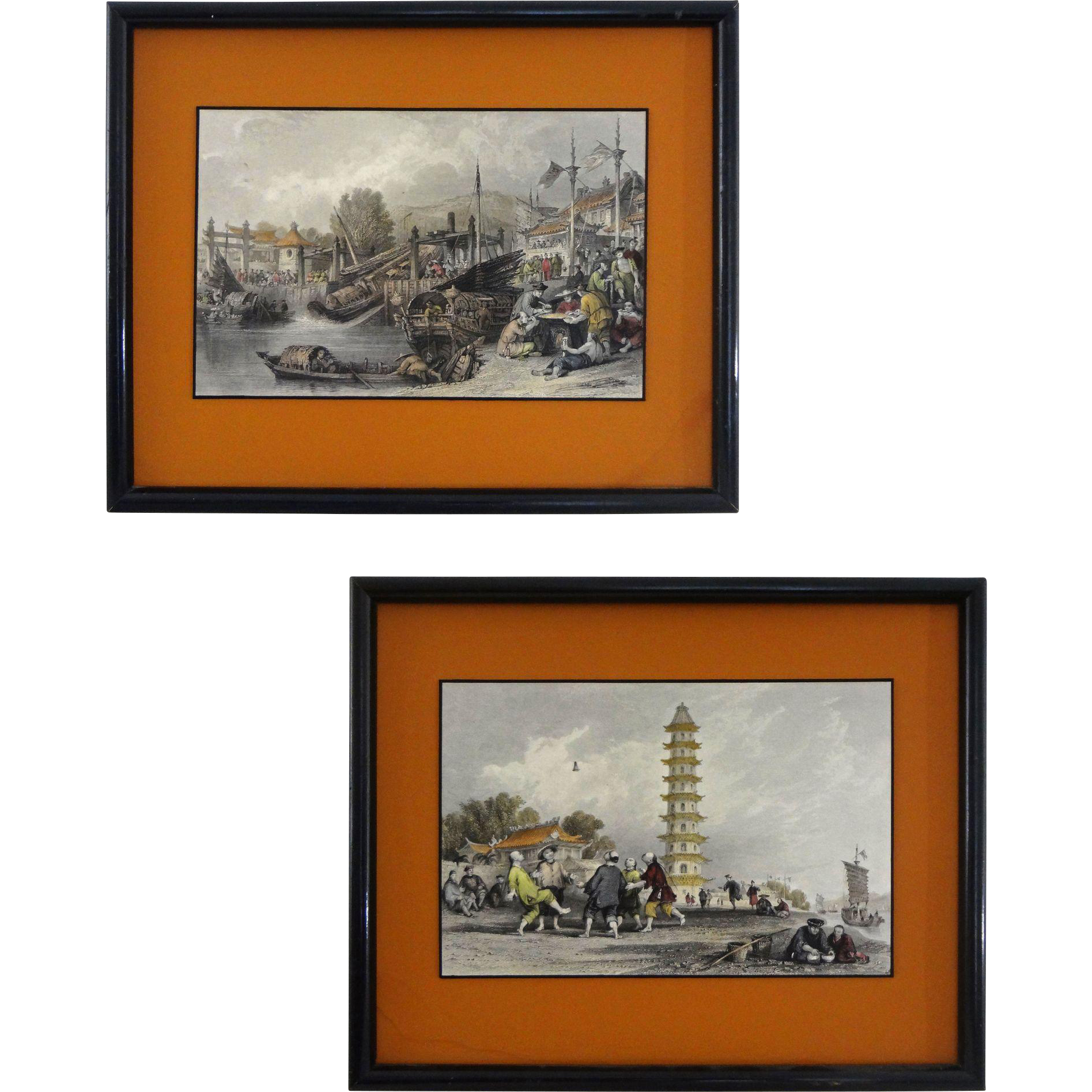 Pair China Scenes Color Steel Engravings after Thomas Allom - c. 1845, England