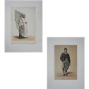 Pair Antique Juive d'Algier Lithographs Galerie Royale De Costumes Roubaud - 1842-1848, France