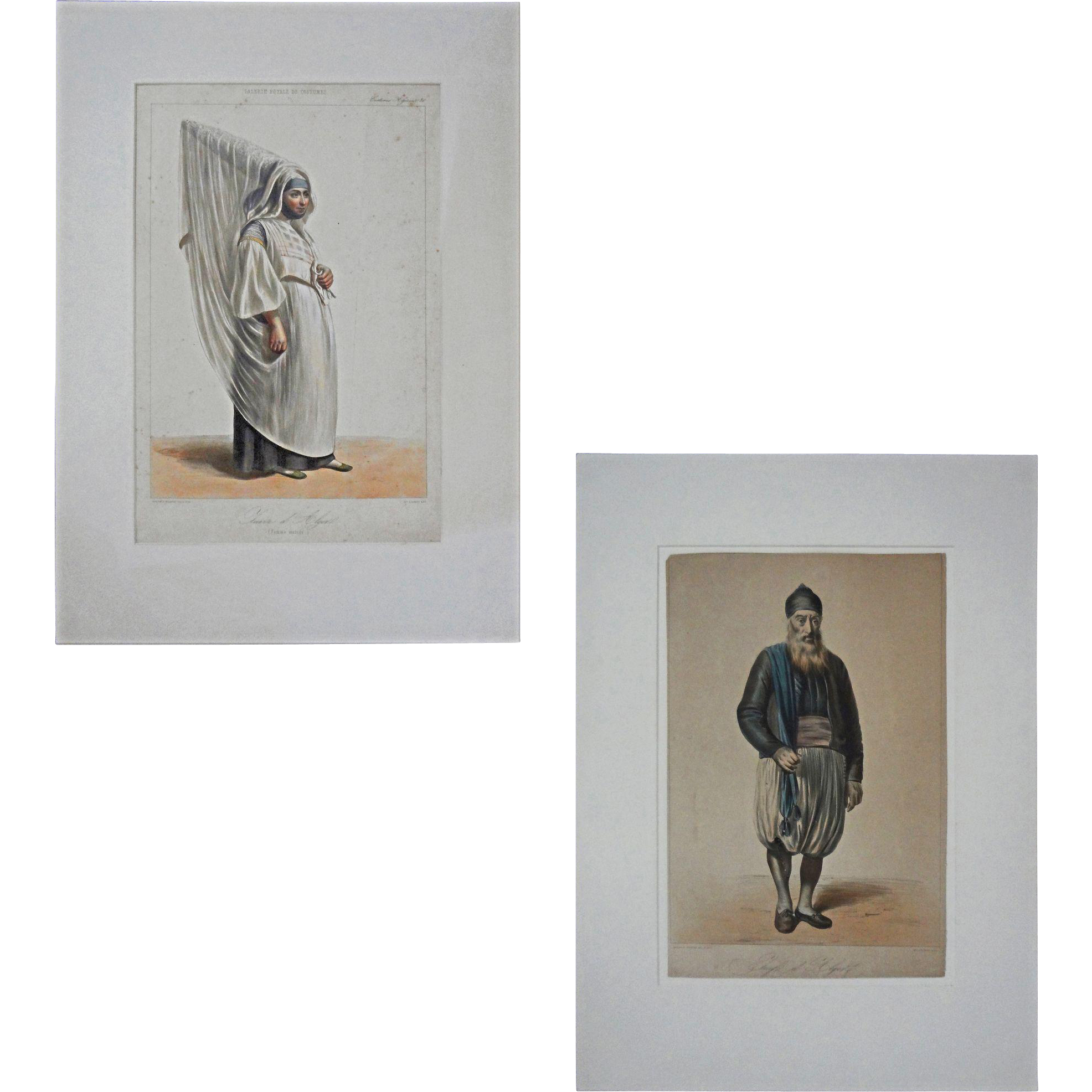 Pair Antique Juive d'Algier Lithographs Costume Couple - 1842-1848, France