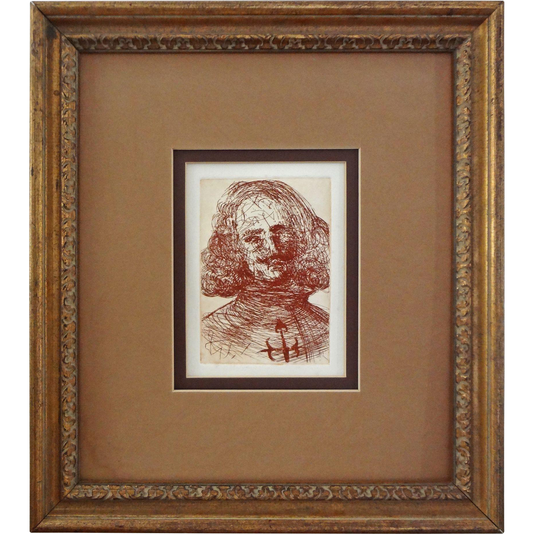 Sepia Etching Velazquez Spanish Inmortals Series after Dali Framed - 20th Century
