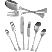 38 Piece Dansk Thistle Early Scandinavian Modern Flatware Set for 6 and Serving Utensils - 20th Century, France