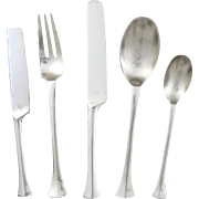 32 piece Dansk Thistle Scandinavian Modern Flatware Set for 6 and Serving Utensils - circa 1970's