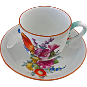Meissen Marcolini Porcelain Cup and Saucer - circa 1774 to 1814, German Kingdom of Saxony