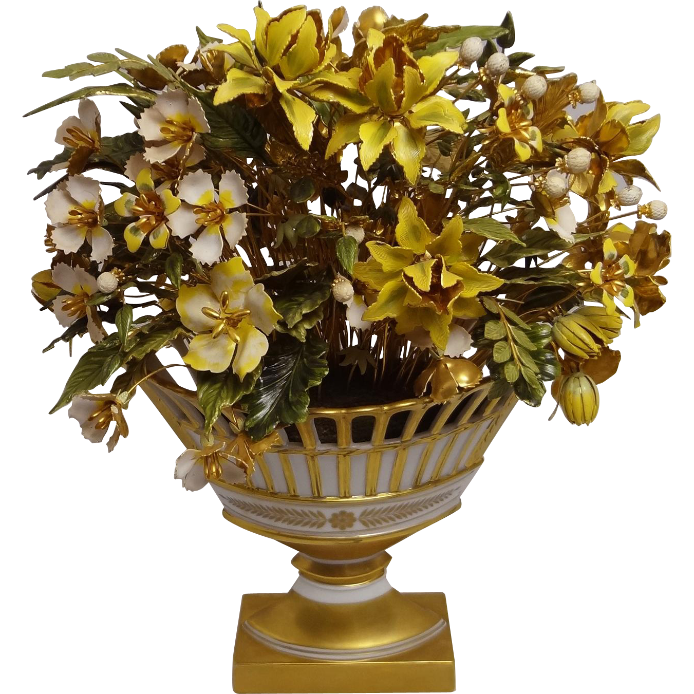 Large Jane Hutcheson Fleurs des Siecles Enamel Flower Arrangement in Reticulated White Gilt Porcelain Centerpiece for Gorham  - c. 1870's-80's, USA