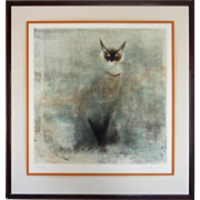 Siamese Cat Etching Chat Vert Signed in Pencil Kaiko Moti and Numbered 56/100 - circa 1965, France