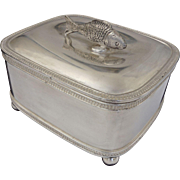 Lidded Sardine Box with Fish Lid Finial Silver Plate Ball Feet
