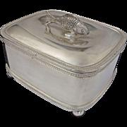 Lidded Sardine Box with Fish Lid Finial Silver Plate Ball Feet