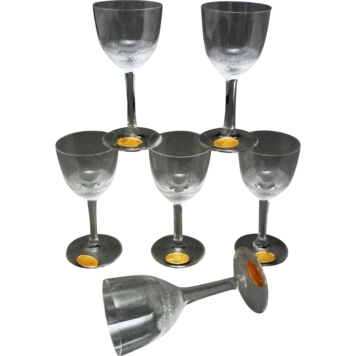 Moser Cordial Set 6 Diamond Cut Crystal Boxed Original Labels Clear - 20th Century, Czechoslovakia
