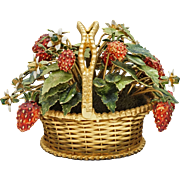 Strawberry Basket Gilt Enamel Jane Hutcheson Gorham Fleurs des Siecles - circa 1970, United States