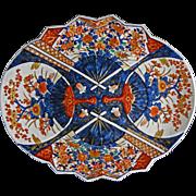 Large Japanese Imari Oval Platter Four Fan Decor